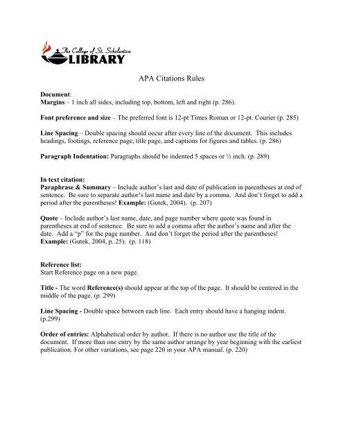 Apa Citations Rules