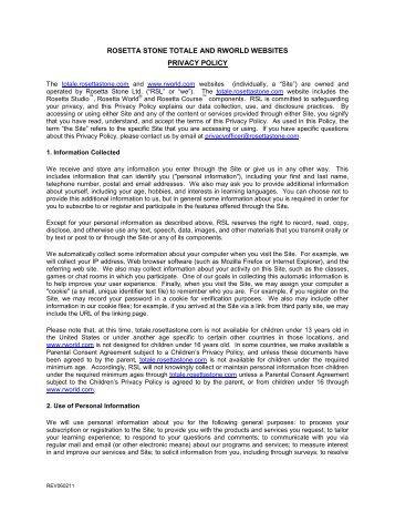 Privacy Policy - Rosetta Stone