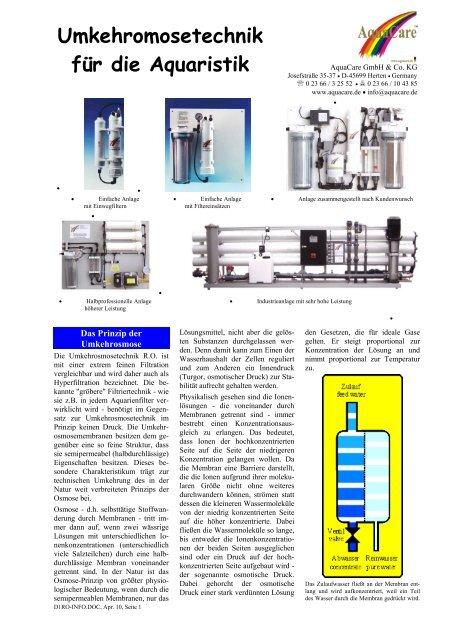 Umkehromosetechnik für die Aquaristik - Aquacare Gmbh & Co. KG