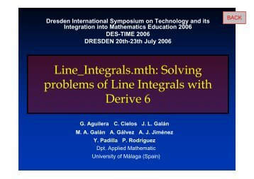 Line_Integrals.mth: Solving problems of Line Integrals with Derive 6