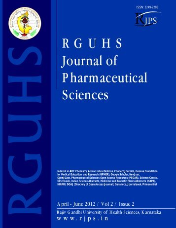 RGUHS Journal of Pharmaceutical Sciences
