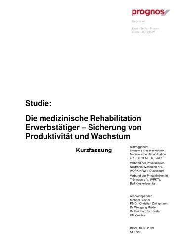 Die medizinische Rehabilitation Erwerbstätiger - Prognos AG