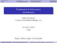 Fondamenti di Informatica Introduzione - Robotica