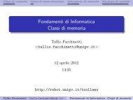 Fondamenti di Informatica Classi di memoria - Robotica