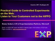 Practical Guide to Controlled Experiments on the Web - Exp Platform