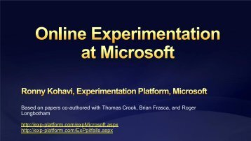 Online Experimentation at Microsoft