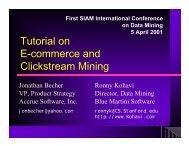 Tutorial on E-commerce and Clickstream Mining