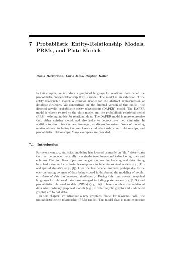 7 Probabilistic Entity-Relationship Models, PRMs ... - Stanford AI Lab