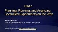 Ronny Kohavi, GM, Experimentation Platform, Microsoft