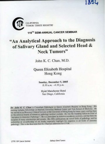 ''An Analytical Approach to the Diagnosis of Salivary Gland and ...