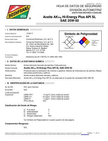 Aceite AK+ ® Hi-Energy Plus API SL SAE 25W-50 - Roshfrans