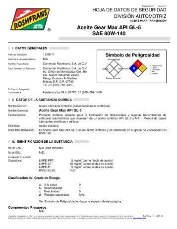 Aceite Gear Max API GL-5 SAE 80W-140 - Roshfrans