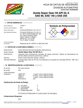 Aceite Súper Gear Oil API GL-5 SAE 90, SAE 140 y SAE ... - Roshfrans