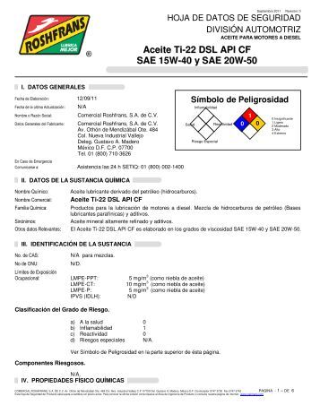 Aceite Ti-22 DSL API CF SAE 15W-40 y SAE 20W-50 - Roshfrans