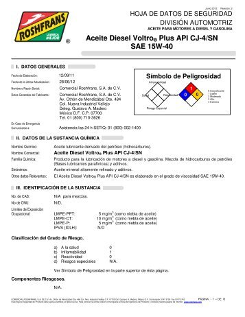 Aceite Diesel Voltro ® Plus API CJ-4/SN SAE 15W-40 - Roshfrans