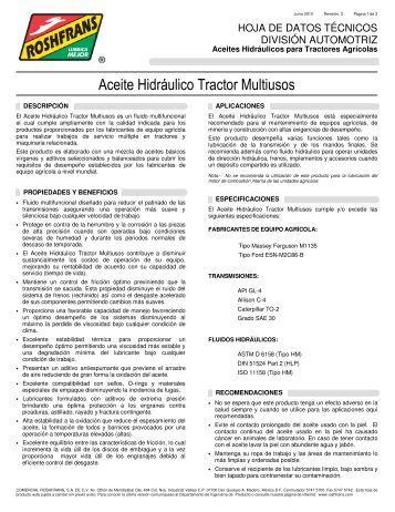 Aceite Hidráulico Tractor Multiusos - Roshfrans