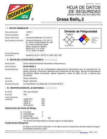 HOJA DE DATOS DE SEGURIDAD Grasa Balit® 2 - Roshfrans