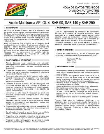 Aceite Multitrans® API GL-4 SAE 90, SAE 140 y SAE 250 - Roshfrans