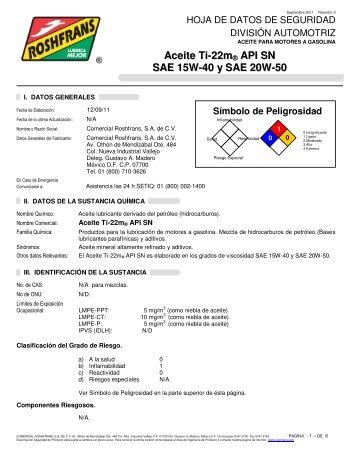 Aceite Ti-22m ® API SN SAE 15W-40 y SAE 20W-50 - Roshfrans