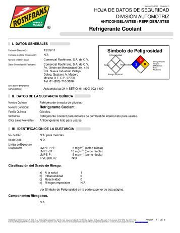 Refrigerante Coolant - Roshfrans