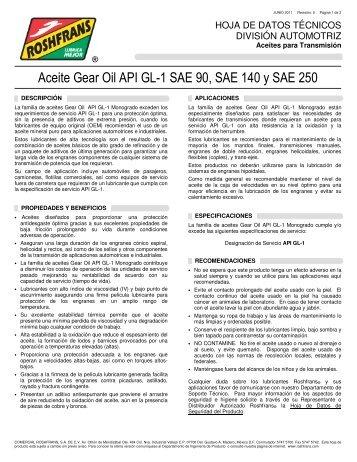 Aceite Gear Oil API GL-1 SAE 90, SAE 140 y SAE 250 - Roshfrans
