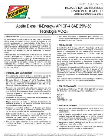 Aceite Diesel Hi-Energy® API CF-4 SAE 25W-50 ... - Roshfrans