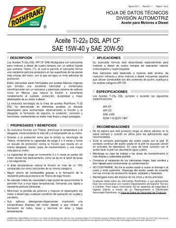 Aceite Ti-22® DSL API CF SAE 15W-40 y SAE 20W-50 - Roshfrans