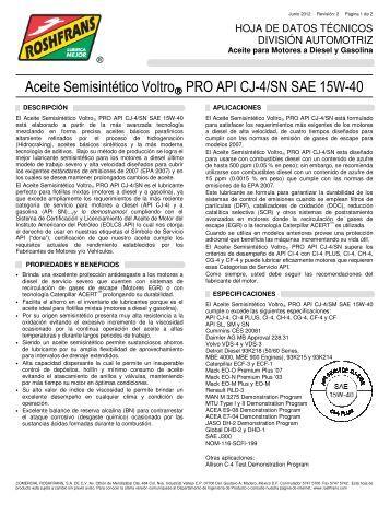 Aceite Semisintético Voltro® PRO API CJ-4/SN SAE ... - Roshfrans