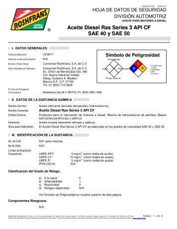 Aceite Diesel Ras Series 3 API CF SAE 40 y SAE 50 - Roshfrans