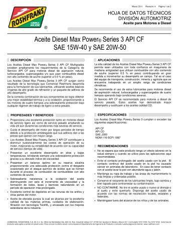 Aceite Diesel Max Power® Series 3 API CF SAE 15W ... - Roshfrans