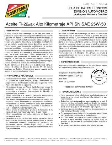 Aceite Ti-22®ak Alto Kilometraje API SN SAE 25W-50 - Roshfrans