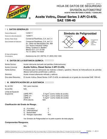 Aceite Voltro® Diesel Series 3 API CI-4/SL SAE 15W-40 - Roshfrans