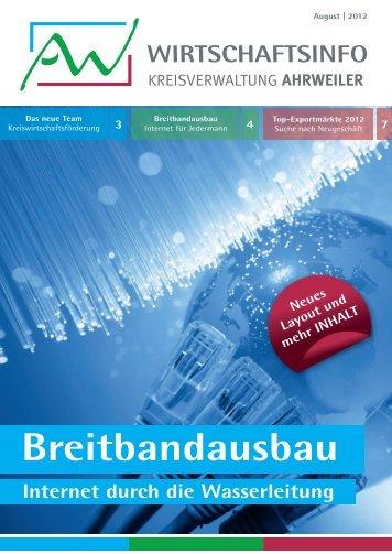 AW-Wirtschaftsinfo August 2012 - Breitbandausbau - Internet durch die Wasserleitung