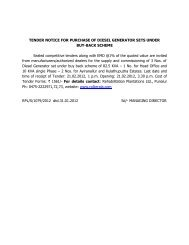 tender notice for purchase of diesel generator sets - RPL