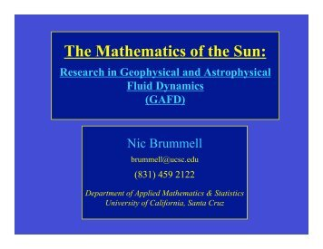 The Mathematics of the Sun: Research in Geophysical