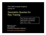 Lecture on Geometric Queries - University of Southern California