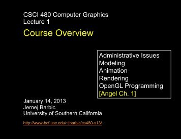 Course Overview - University of Southern California
