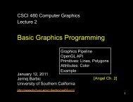 Basic Graphics Programming - University of Southern California