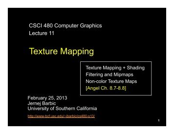 Texture Mapping - University of Southern California