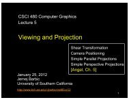 Viewing and Projection - University of Southern California