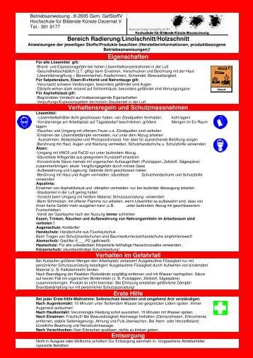 Bereich Radierung/Linolschnitt/Holzschnitt Eigenschaften ...