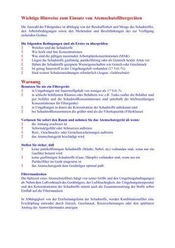 Einsatz von Atemschutz(Merkblatt)