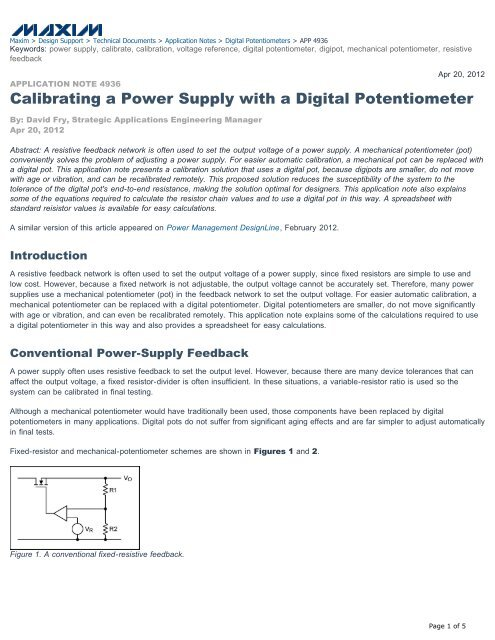 Calibrating a Power Supply with a Digital Potentiometer     - EEWeb