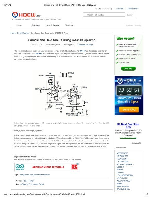 sample and hold circuit using ca3140 op amp eewebSample And Hold Circuit Using Ca3140 Op Amp #2