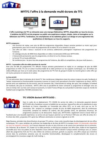MYTF1 l'offre à la demande multi-écrans de TF1