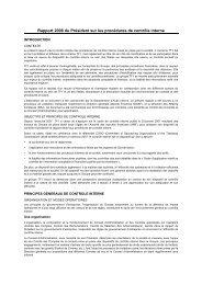 Rapport 2008 du Président sur les procédures de contrôle ... - TF1