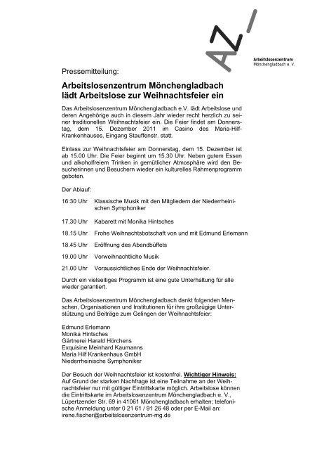 Weihnachtsfeier Mönchengladbach.Arbeitslosenzentrum Mönchengladbach Lädt Arbeitslose Zur