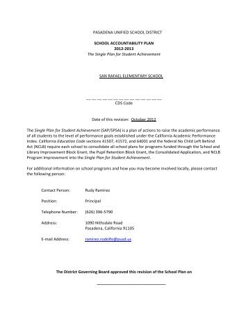 2012-2013 School Accountability Plan - San Rafael Elementary ...