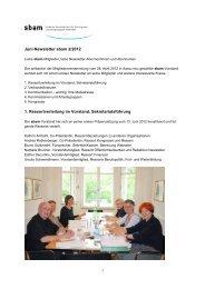 Juni-Newsletter sbam 2/2012 1. Ressortverteilung im Vorstand ...