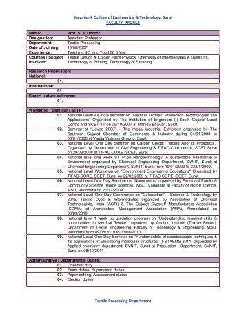 Prof. Shweta J. Doctor - Sarvajanik College of Engineering ...